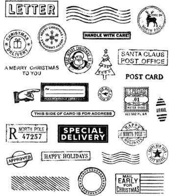Holiday Postmarks - Cling Stamps - Tim Holtz - Stampers Anonymous