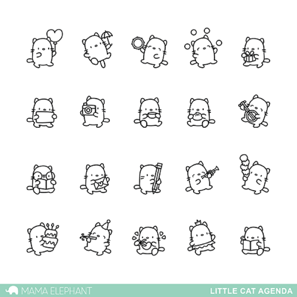 Little Cat Agenda - Clear Stamps - Mama Elephant