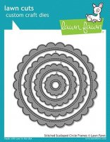 Stitched Scalloped Circle Frames - Lawn Cuts