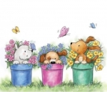 Dogs in Pots - Stempel - Wild Rose Studio