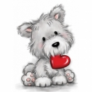 Dog with Heart - Stempel - Wild Rose Studio